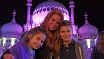 Regular visitor Patsy Palmer and her children at Royal Pavilion Ice Rink
