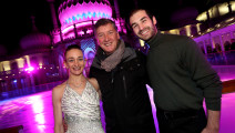 Skaters Zoe Wilkinson and Christopher Boyadji with Robin Cousins.  Grand opening of Brighton's Royal Pavilion Ice Rink 2016. Pictured is action from the event.  Thursday 3rd November 2016.  Photograph by Sam Stephenson, 07880 703135, www.samstephenson.co.uk.